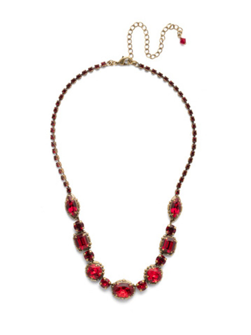 Sorrelli Sansa Red Cardoon Crystal Necklace NDX7AGSNR