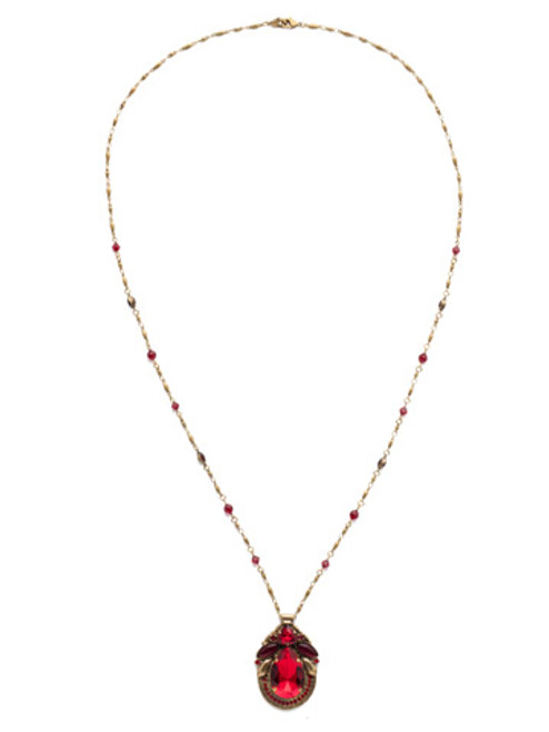 Different View Sorrelli Sansa Red Armeria Crystal Pendant NDX13AGSNR