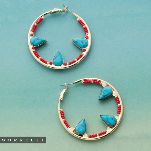 Sorrelli Crescent Hoop Earrings in Ruby Moroccan Turquoise EEH24BGRTU