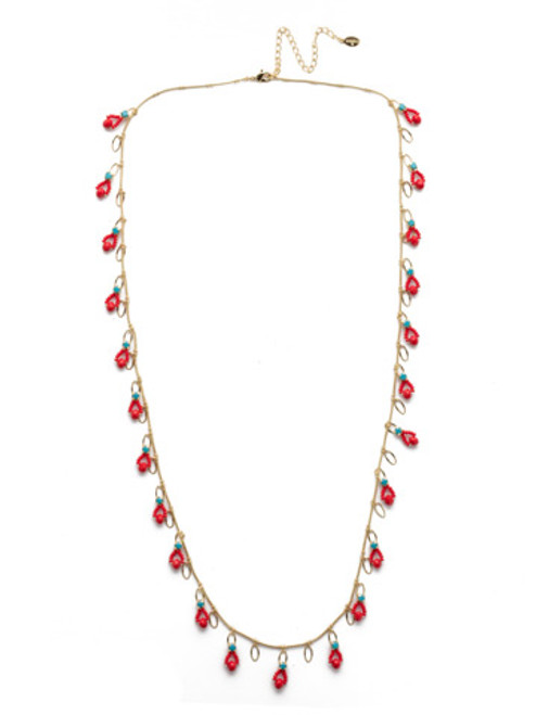 Sorrelli Dayton Long Strand Necklace in Ruby Moroccan Turquoise NEH6BGRTU