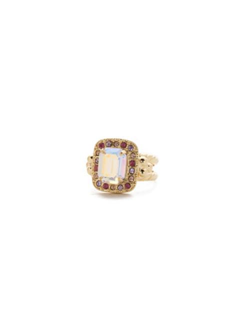 Sorrelli Island Sun- Opulent Octagon Crystal Cocktail Ring~ RDQ41BGISS