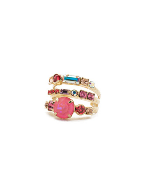 Sorrelli Island Sun Triple Threat Stacked Crystal Ring~ RDK23BGISS