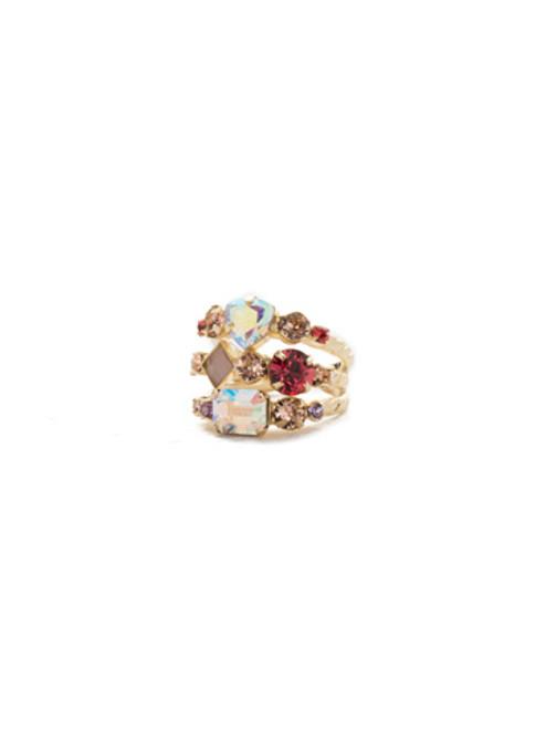 Sorrelli Island Sun- Sedge Stacked Crystal Ring~ RDX1BGISS