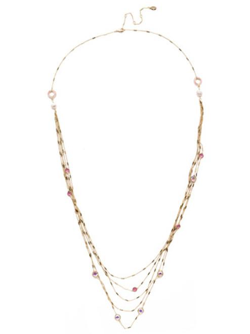 Sorrelli Island Sun Luminous Layered Crystal Necklace~ NEK2BGISS