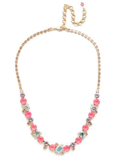 Sorrelli Island Sun Sophisticated Crystal Tennis Necklace~ NDK17BGISS