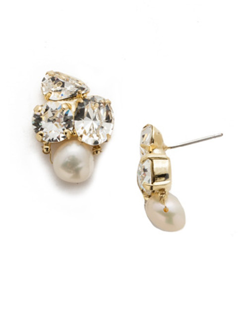 Sorrelli Modern Pearl- Aziza Stud Earrings~ EEK18BGMDP