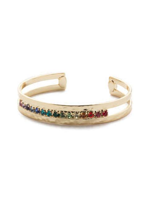 sorrelli hammered metal rhinestone crystal cuff bright gold bdc6bgpri
