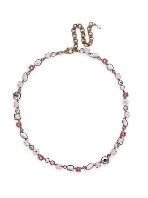 Sorrelli Pink Peony Crystal Necklace NAQ3AGPP