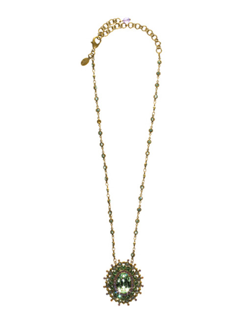 Sorrelli Sweet Dreams- Intricate Oval Crystal Pendant Necklace~ NBP117AGSWD