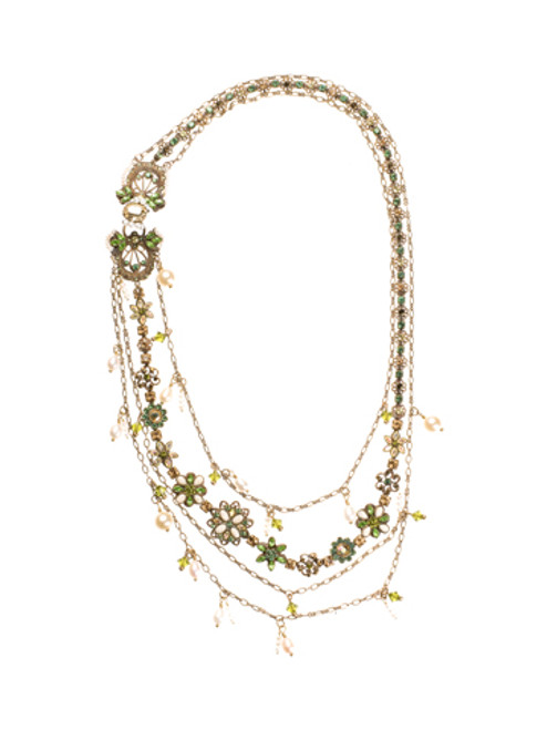 Sorrelli Water Lily Crystal Necklace NBP40AGWL