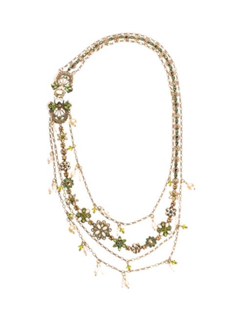 Sorrelli Water Lily- Swarovski Crystal Bib Necklace~ NBP40AGWL