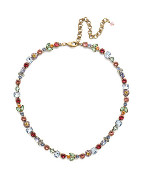 Sorrelli Bohemian Bright Crystal Tennis Necklace~ NEA1AGBHB