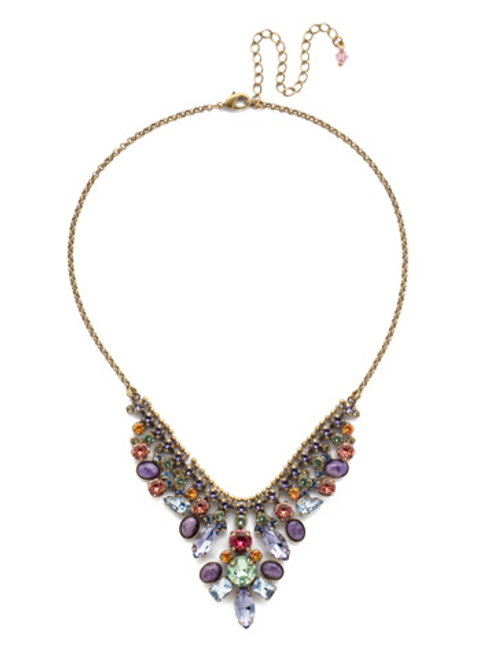 Sorrelli Bohemian Bright- Vervain Crystal Statement Necklace~ NDQ4AGBHB