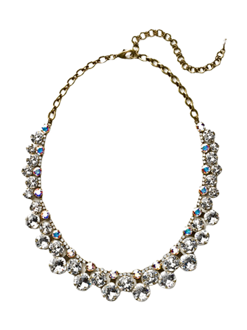 Full View Sorrelli White Bridal Crystal Necklace- NCT14AGWBR