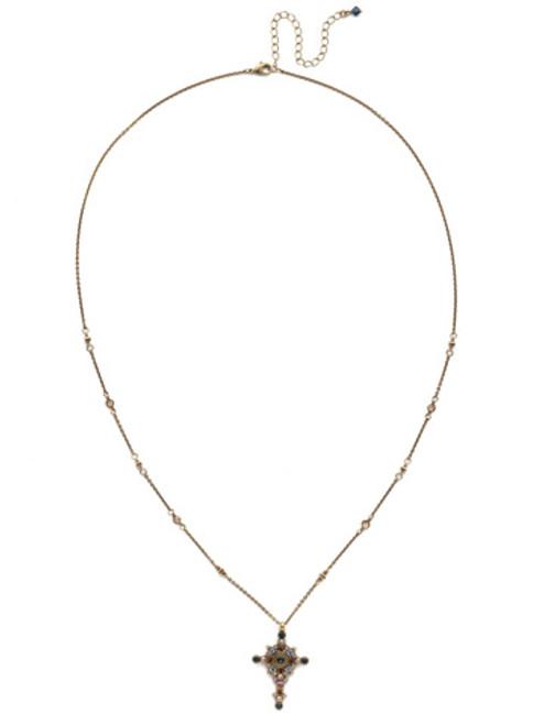 Sorrelli Selvedge Denim- Celestial Cross Pendant Necklace~ NDH46AGSDE