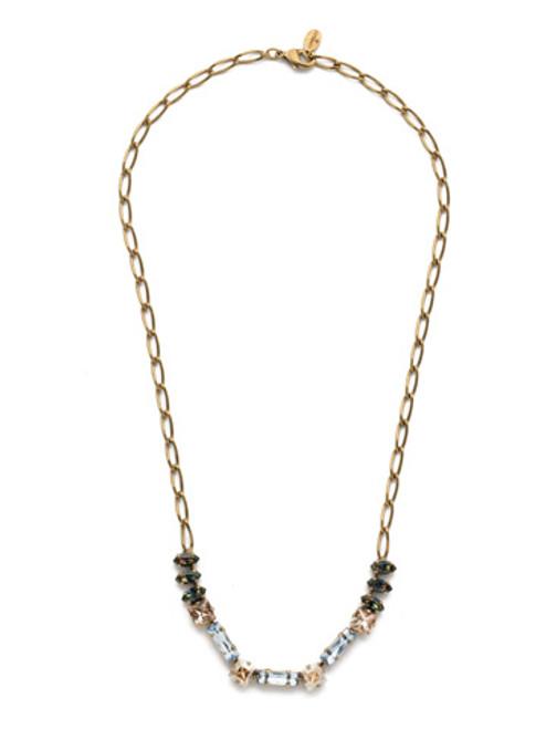 Sorrelli Selvedge Denim Crystal Necklace NEP17AGSDE