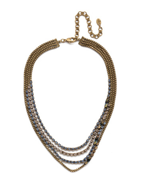 Sorrelli Selvedge Denim  Crystal Necklace~NEP12AGSDE
