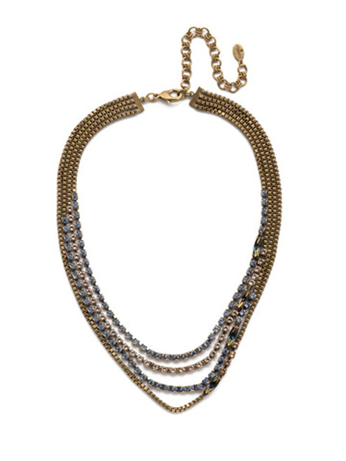 Sorrelli Selvedge Denim Crystal Necklace NEP12AGSDE
