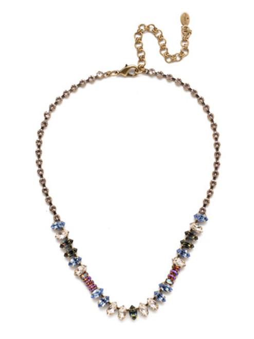 Sorrelli Selvedge Denim Crystal Necklace NEP5AGSDE
