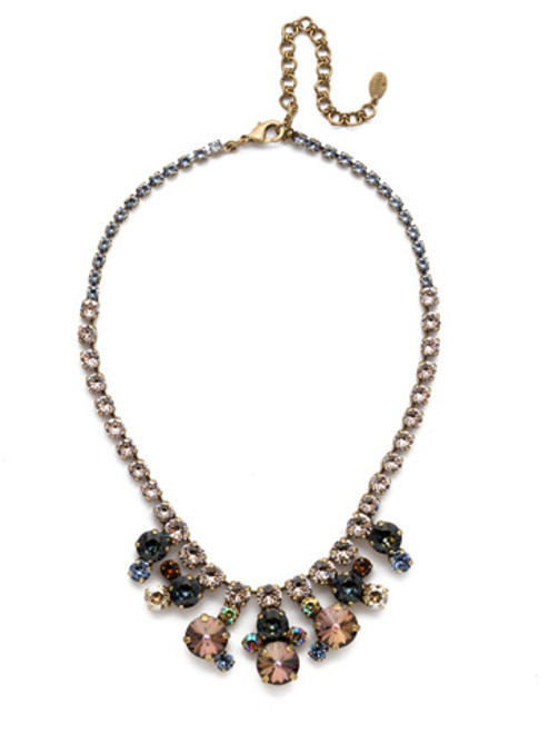 Full View Sorrelli Selvedge Denim Crystal Necklace NEP21AGSDE