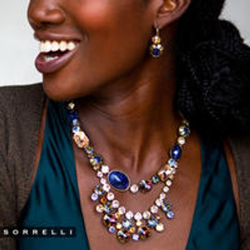 Sorrelli Selvedge Denim  Crystal Necklace~NEP21AGSDE