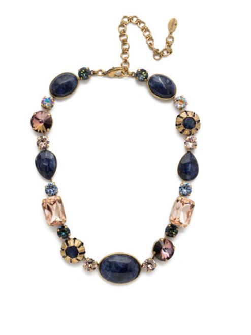 Sorrelli Selvedge Denim Crystal Necklace NEP57AGSDE
