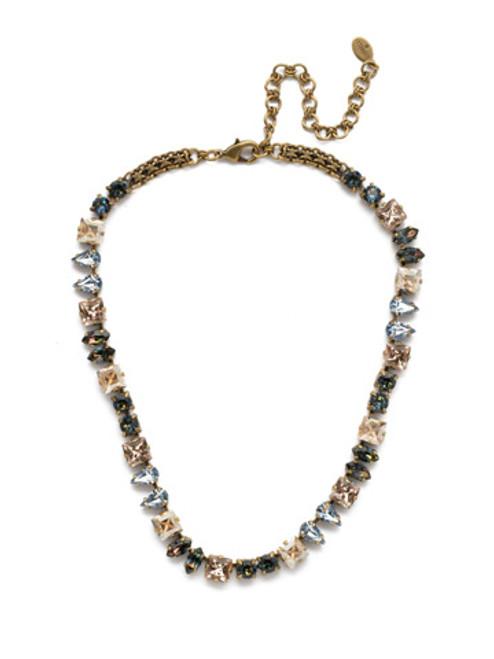 Sorrelli Selvedge Denim Crystal Necklace- NEP16AGSDE