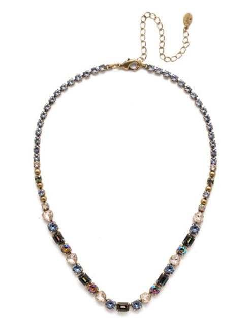 Sorrelli Selvedge Denim Crystal Necklace NEP13AGSDE