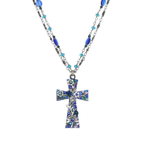 Michal Golan Cerulean Cross Necklace N4345