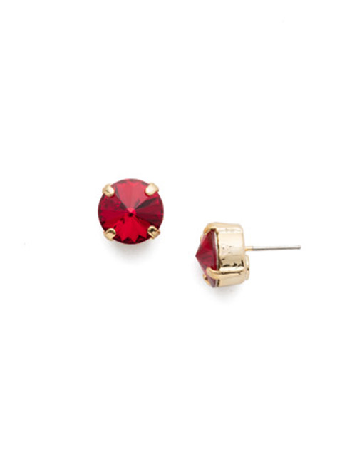 Sorrelli Scarlet Champagne Round Crystal Stud Earrings ECM14BGSRC