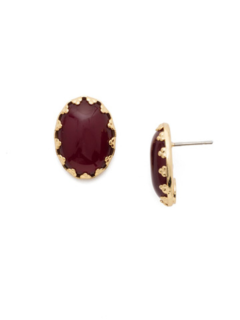 Sorrelli Scarlet Champagne Oval Crystal Stud Earrings ECT43BGSRC