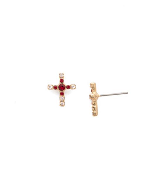 Sorrelli Scarlet Champagne Cross Crystal Stud Earrings EEN1BGSRC