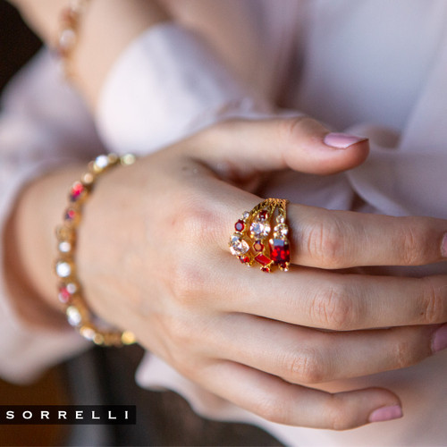 Sorrelli Scarlet Champagne- Sedge Stacked Ring~ RDX1BGSRC