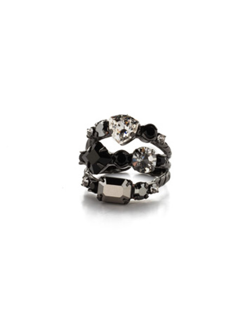 Sorrelli Midnight Moon Sedge Stacked Ring RDX1GMMMO