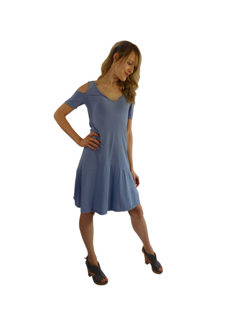 Luna Luz Positano Off The Shoulder Dress Paris Blue 360PB