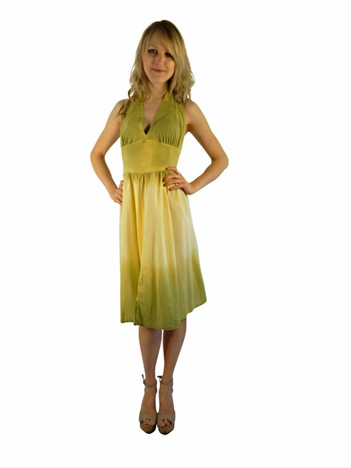 Luna Luz Double Dip Ombre Halter Dress Celery/Banana 35W