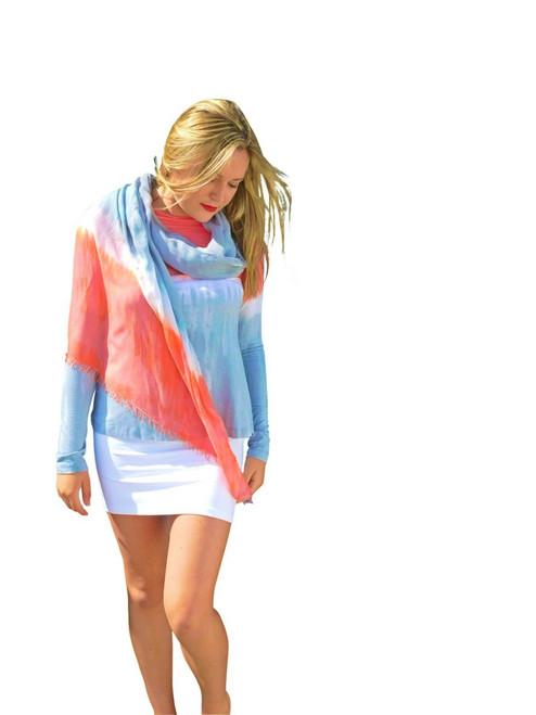 Silk Modal Wrap By Annie Turbin Coral Grey Stripe
