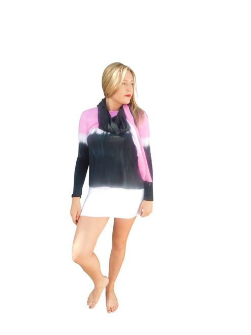 Silk Modal Wrap By Annie Turbin Hot Pink & Black Stripe