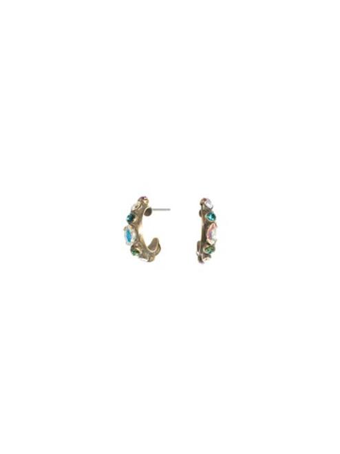 Sorrelli SMITTEN Crystal Dainty Hoop Earrings ~ EBT4AGSMI
