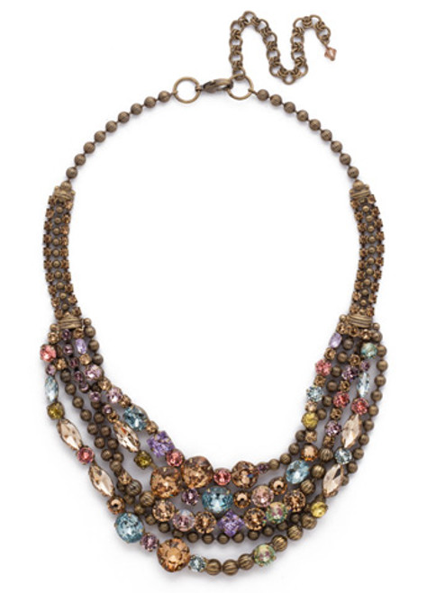 *SPECIAL ORDER**SORRELLI RUSTIC  BLOOM  RED CARPET CRYSTAL LAYERING NECKLACE~NCK50AGRB