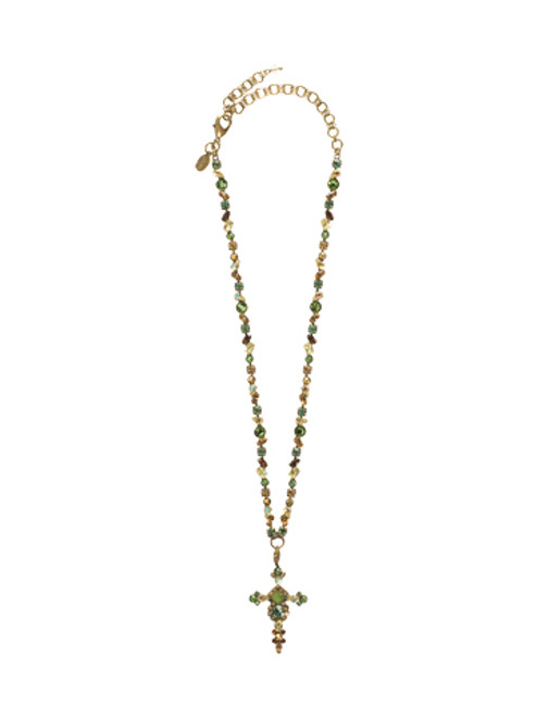 SORRELLI WATER LILY- BOLD CRYSTAL CROSS NECKLACE~ NBN22AGWL