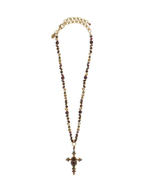 SORRELLI TAPESTRY - BOLD CRYSTAL CROSS NECKLACE~ NBN22AGTAP