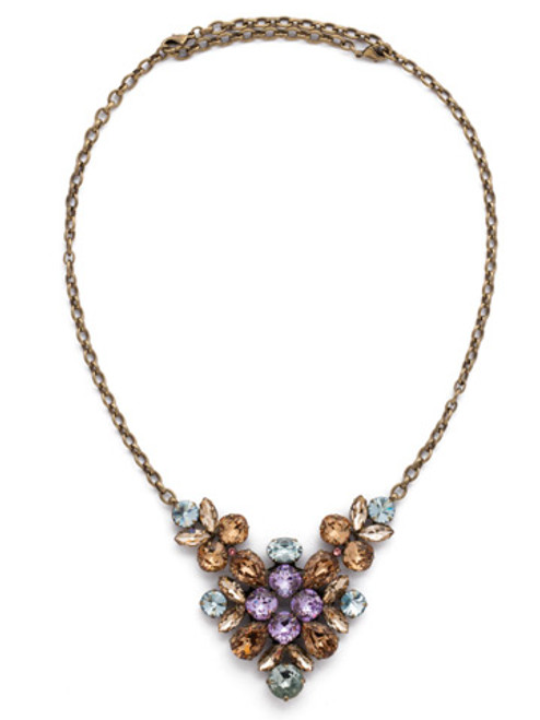 *SPECIAL ORDER**SORRELLI RUSTIC  BLOOM   CRYSTAL LOTUS CONVERTIBLE NECKLACE~NCK50AGRB
