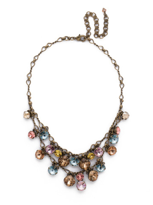 *SPECIAL ORDER**SORRELLI RUSTIC  BLOOM   CRYSTAL DOUBLE S STRAND BIB NECKLACE~NCF23AGRB