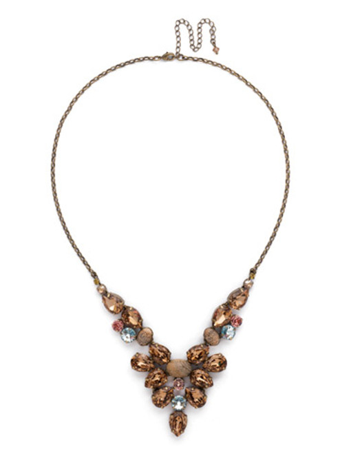 Sorrelli Rustic Bloom- Chambray Crystal Statement Necklace~ NDE59AGRB