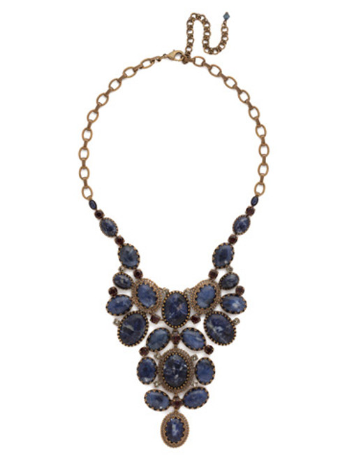 Sorrelli Blue  Brocade Crystal Necklace~NCU1AGBBR