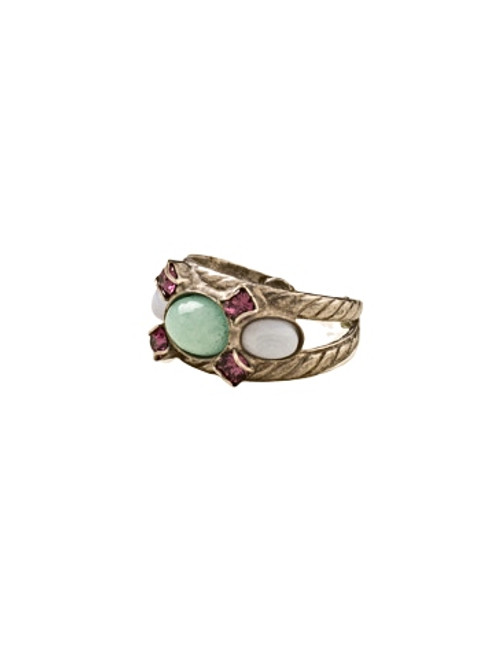 Sorrelli African Violet-Oval Semi-Precious and Crystal Ring~ RDE7ASAFV