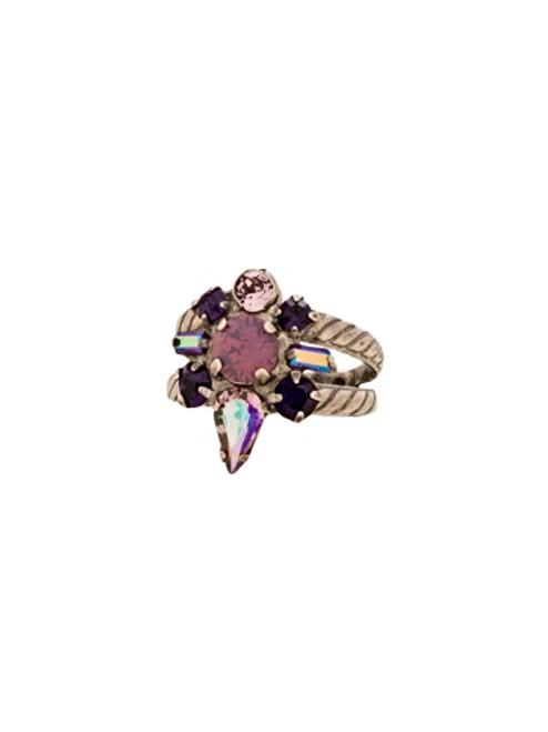 Sorrelli African Violet- Round Crystal Starburst Ring~ RDB5ASAFV