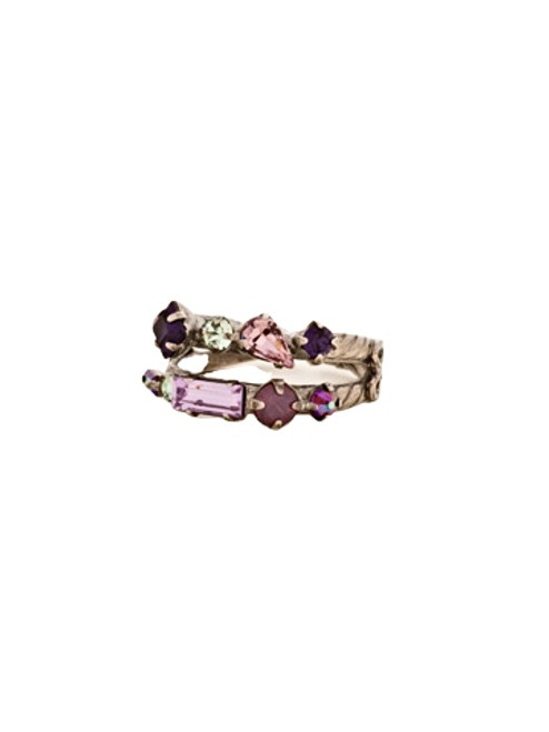 Sorrelli African Violet Delicate Multi Cut Double Band Ring~ RDB4ASAFV