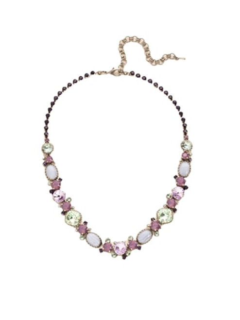 Sorrelli African Violet Multi-Cut Crystal and Semi-Precious Line Necklace~ NDE1ASAFV